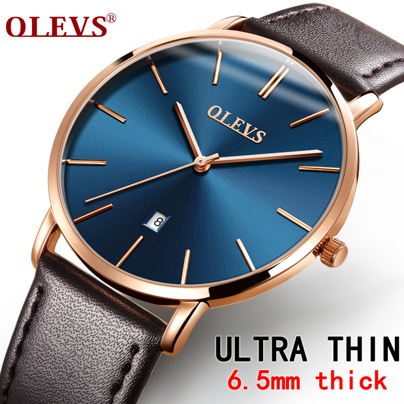 Férfi órák luxus márka Olevs kvarc valódi bőr öv minimalista - Férfi órák