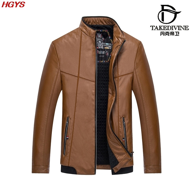 new 2017 men leather leisure PU leather jacket Add more cotton coat of cultivate one's morality