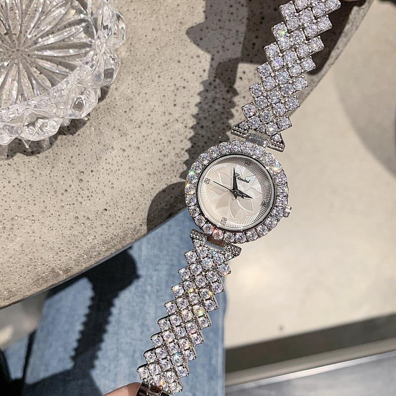 Image 3 - 2019 New Fashion Silver Women Watches Top Luxury Ladies Watch  Women Rhinestone Crystal Quartz Watches Dress Wristwatches ClockWomens  Watches