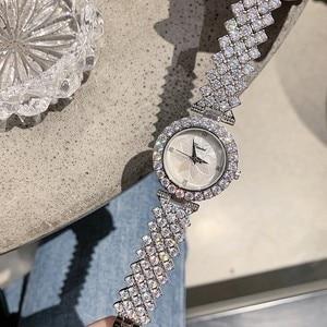 Image 3 - 2019 New Fashion Silver Women Watches Top Luxury Ladies Watch Women Rhinestone Crystal Quartz Watches Dress Wristwatches Clock