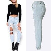 2017 Sexy Punk Estilo Vintage Denim Jeans de Moda Mujer de Alta Pantalones Flacos Del Agujero de la cintura Delgada Jeans Rotos Lápiz Sexy Girls pantalones