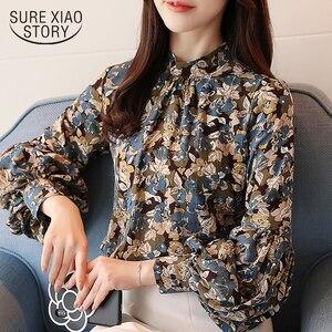 Image 1 - Moda kobieta bluzki 2020 drukuj szyfonowa bluzka koszula damskie topy i bluzki z długim rękawem koszule damskie blusas femininas 2078 50