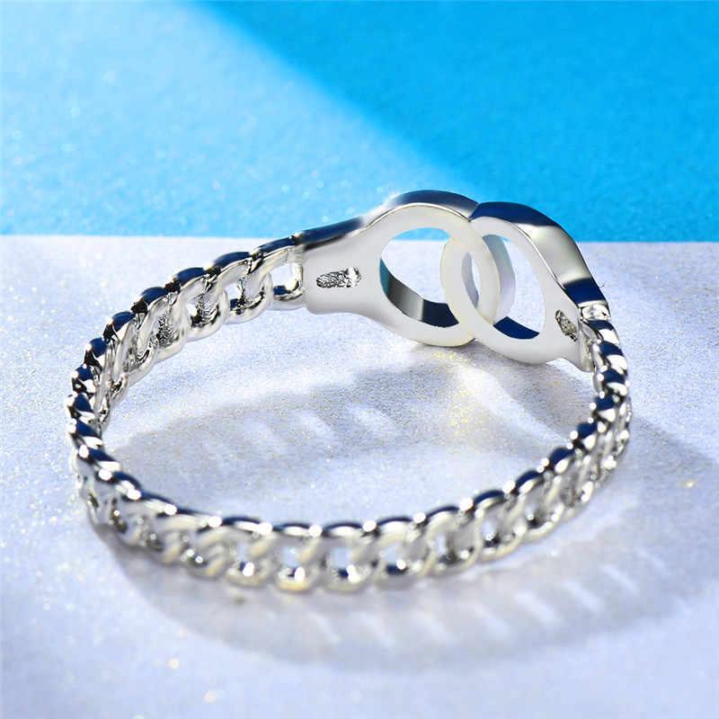 Estilo Boho Empilhamento Anel Algema 925 Silver Rose Gold Filled Chain link Bonito Cruz Anéis Para As Mulheres Homens Minimalista Fina jóias
