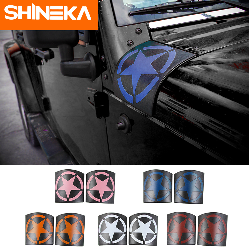 SHINEKA Car Sticker For Jeep Wrangler JK 2007-2017 ABS Star Auto Hoods Angle Wrap Cover For Jeep Jk Wrangler Accessories