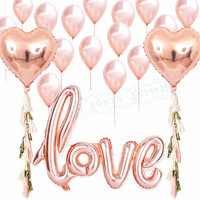 1 Zestaw Złota Róża Strona Dekoracji Balony Serca Shpae Pisanie Miłość Balony Foliowe 12 inch Lateksowy Balon dla Wedding & zaręczyny