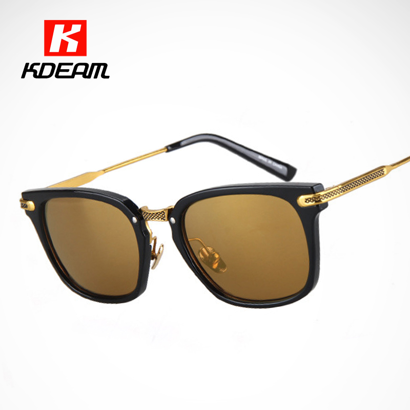 461b1810b2e2 Aliexpress.com : Buy Tinted UV400 Lenses Gold Flash Mens Sunglasses For  Driving/Casual Gentleman Sun Glasses sonnenbrille With Black Box KDEAM CE  from ...