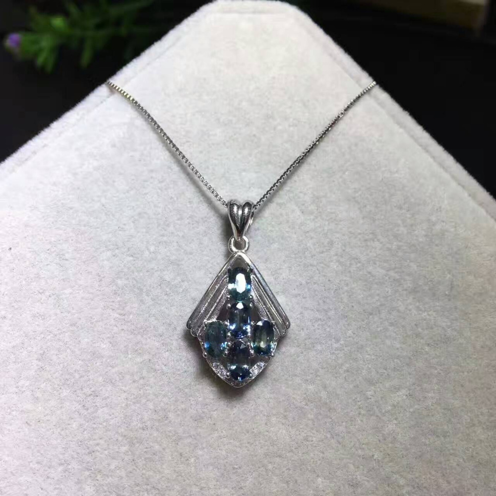 все цены на Natural blue sapphire pendant S925 silver Natural gemstone Pendant Necklace trendy lovely Leaves rhombic women party jewelry онлайн