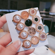 Ins Net Red Hair Clip Korea Simple Crystal Hairpin Bangs Girl Temperament Side Word Accessories