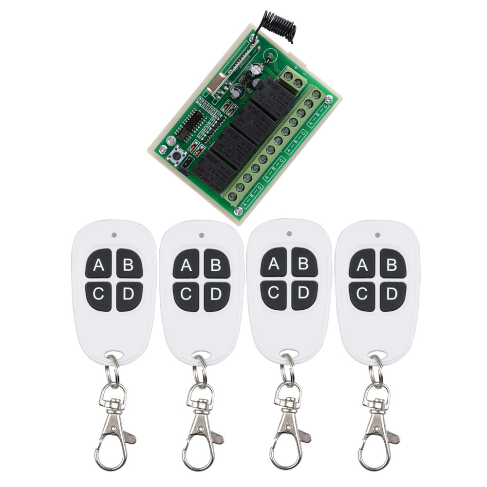 DC12V 4CH 10A RF Wireless Remote Control Switch 433 MHZ 4 Button White Transmitter For LED Lamp ,Lights, Motor DIY Function 40km h 4 wheel electric skateboard dual motor remote wireless bluetooth control scooter hoverboard longboard