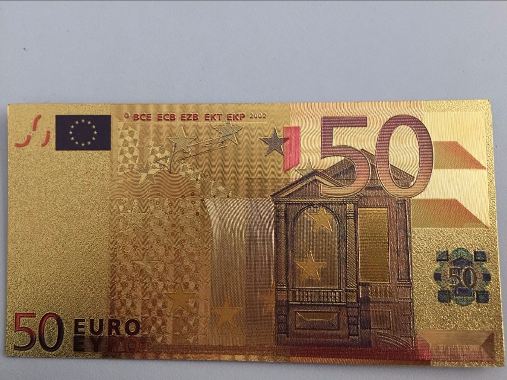 100pcs 24k European 50 Euro Gold Banknote Fake Money EURO BANK NOTES Europe money Color Gold Plated Collection Creative Gift box clutch purse
