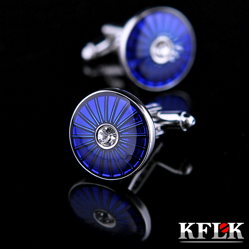 KFLK Jewelry Fashion French Shirt cufflinks for mens Brand Crystal Cuff links Wholesale Button Blue High Quality guests