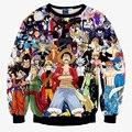 Новый 2015 осень мужчины/женщины кофты 3D графический футболка печать аниме One Piece пуловер с капюшоном осень топы одежда