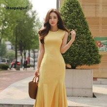 2018 Plus Size Mermaid Dress Women Summer Yellow Sleeveless O-neck Mid-calf Vintage Elegant Party Club Dresses Moda Mujer