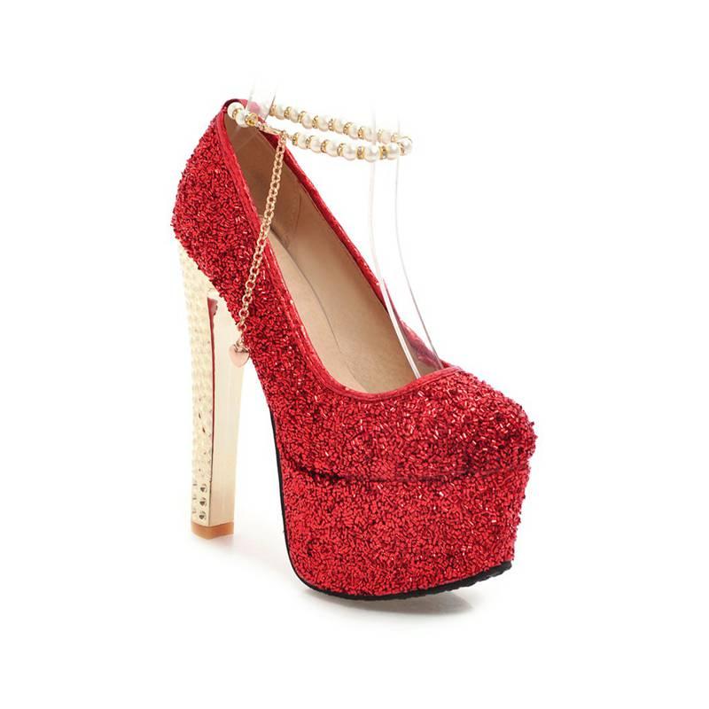 US $36.77 42% OFF|FAMSO 2019 Neue Schuhe Frühling Herbst Flachen Schuhe Perlen Gold High Heels 15 cm Rot Hochzeit Schuhe glitter Weibliche Prom