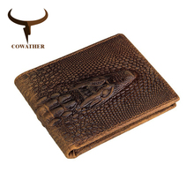 COWATHER 100 top quality cow genuine leather men wallets alligator style vintage wallet