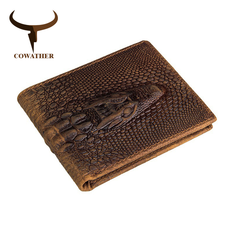 Cowather 100% calidad superior de vaca de cuero genuino hombres carteras de cocodrilo carpeta de la vendimia del estilo
