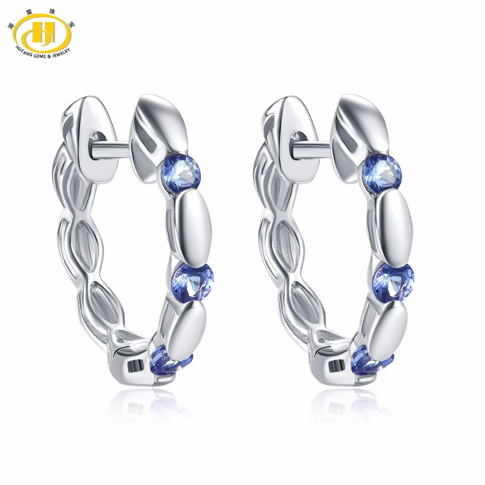 Hutang Natural Gemstone Tanzanite Stud Earrings Solid 925 Sterling Silver  Fine Jewelry For Women's Gift 2017