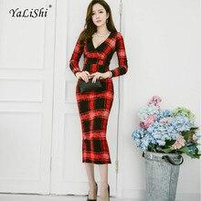 7602dd23b39 2018 Pencil Dress Women Red Plaid Long Sleeve V-neck Mid-calf Vintage Party