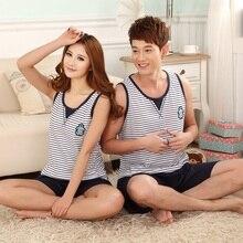 pajamas for couples sleepwear pure cotton stripe vest for men and women lounge sleep set plus size plus size sleepwear