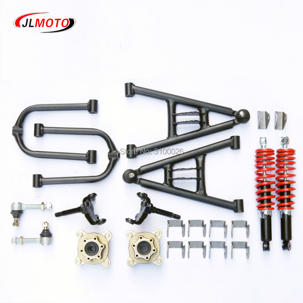 1Set Front Suspension Swingarm Upper/Lower A Arm Steering Strut Knuckle Spindles with Brake Disc Whee Hubs Fit For DIY ATV Parts cnspeed new front strut bar new aluminum front upper strut tower bar brace for bmw e46 3 series m3 1998 2007 tt101024