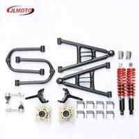 1Set Front Suspension Swingarm Upper/Lower A Arm Steering Strut Knuckle Spindles with Brake Disc Whee Hubs Fit For DIY ATV Parts