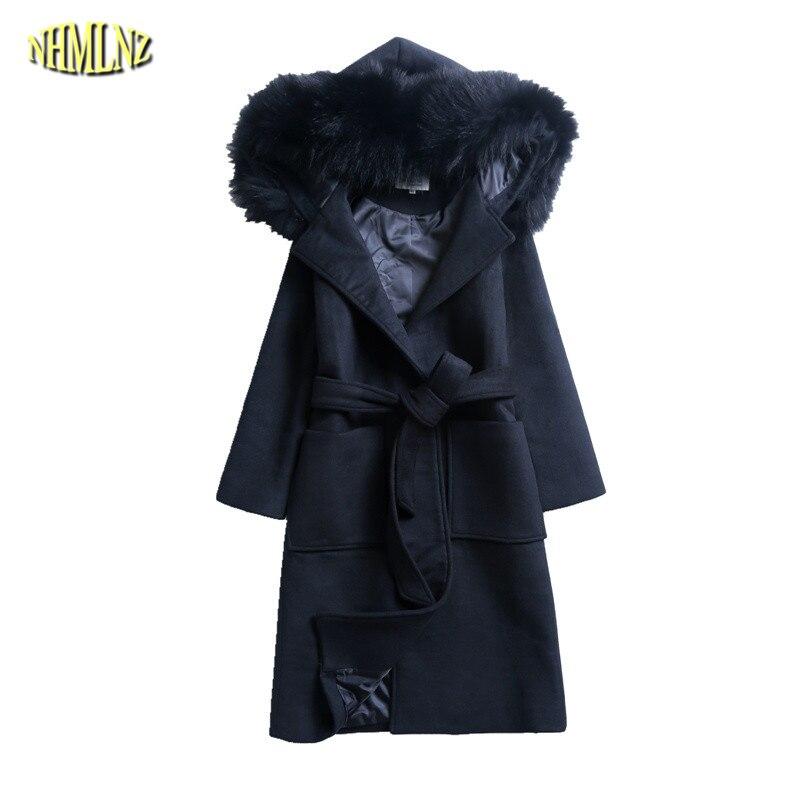 2018 Elegant Winter Women Woolen Coat Outerwear New Casual Slim Warm Hooded Comfortable Women High quality Woolen coat OK50