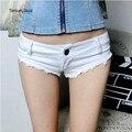 Mulheres Shorts Jeans Brancas Elásticas Harajuku Sexy Menina Shorts Jeans Calções Espólio Invierno Casuais Boho Tanga Bottoms Beach Wear