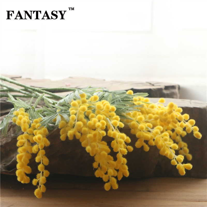FANTASY 5 Fork 57cm Artificial Acacia Flowers Tree Branch Simulated Stamen Bouquet Wedding Wreath Home Decor Fake Pompom Flower in Artificial Dried Flowers from Home Garden