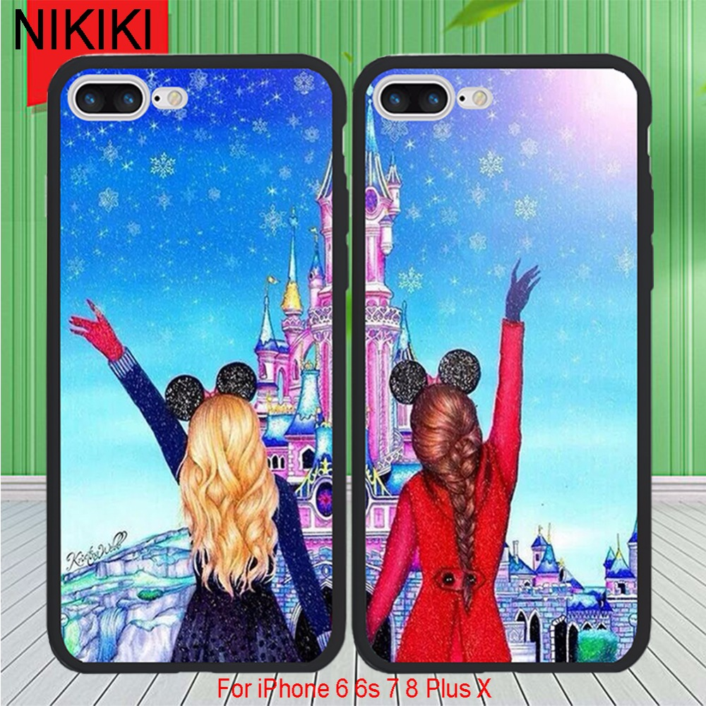 ciciber Best Friends BFF Phone Cases For iPhone 8 7 Plus 6 6s X Soft TPU Silicon Frame & Hard PC Lovely Beautiful Cover