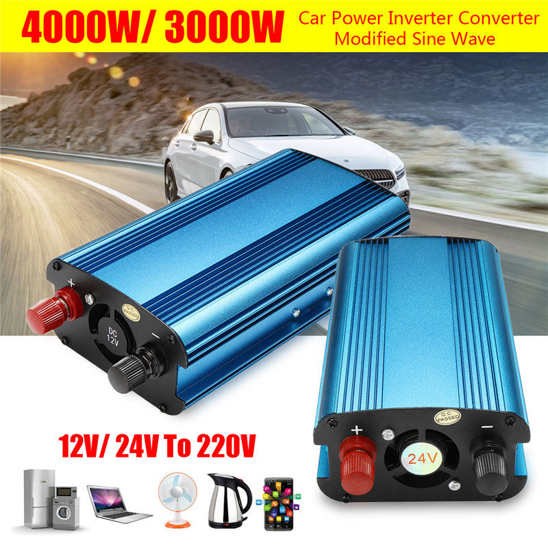 Solar Power Inverter 3000W/4000W LED 12/24V DC to 220V AC 50Hz Modified Sine Wave Converter Built-in Cooling Fan Manual Switch