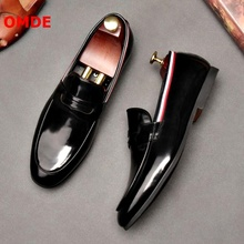 OMDE Black Patent Leather Loafers Fashion Slip On Moccasins Men Casual Shoes Luxury Loafer Slippers Men's Banquet And Prom Shoes недорого