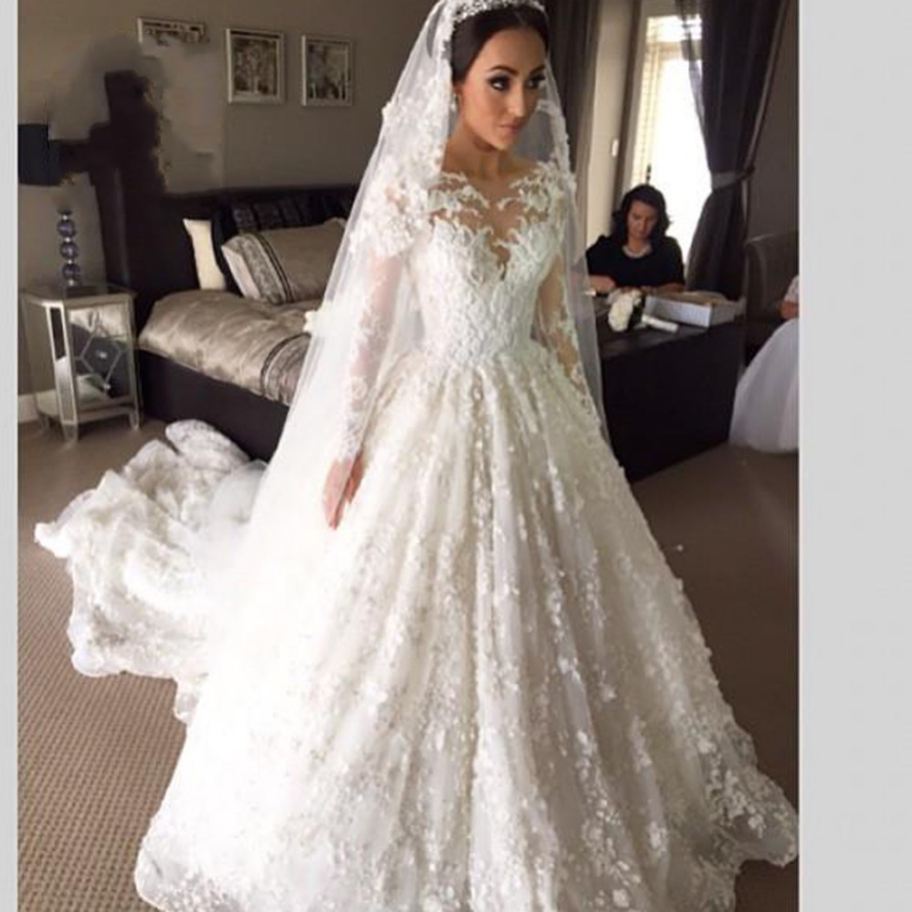 Muslim Wedding Gown Pictures: Viamns New Arrival Lace Long Sleeve Muslim Wedding Dress