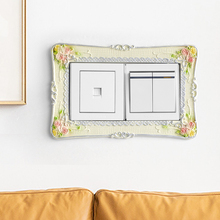 Resin Switch Sticker Pastoral Home Light Cover Square Flower Pattern Wall Socket Stickers Decor For