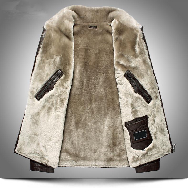 Réel Taille brown Plus La Cuir Manteaux 5xl Black De Blue Hommes Véritable My1616 D'hiver Hombre Veste Fourrure Doublure En Chaud Manteau Chaqueta royal Peau Mouton Laine bfgy76