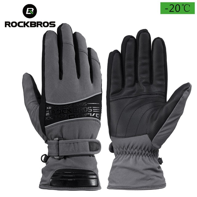 ROCKBROS Cycling Winter Gloves Bike Windproof Thermal Motorcycle Gloves Keep Warm Motorbike Bicycle Cold Weather Long Gloves