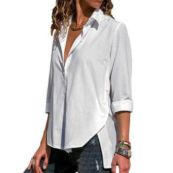 84f7fa7f0d5ec36 Product Offer. Белая блузка 2019 летняя сексуальная глубокий v-образный  вырез женские блузки однотонные с длинным рукавом пуговицы рубашки ...