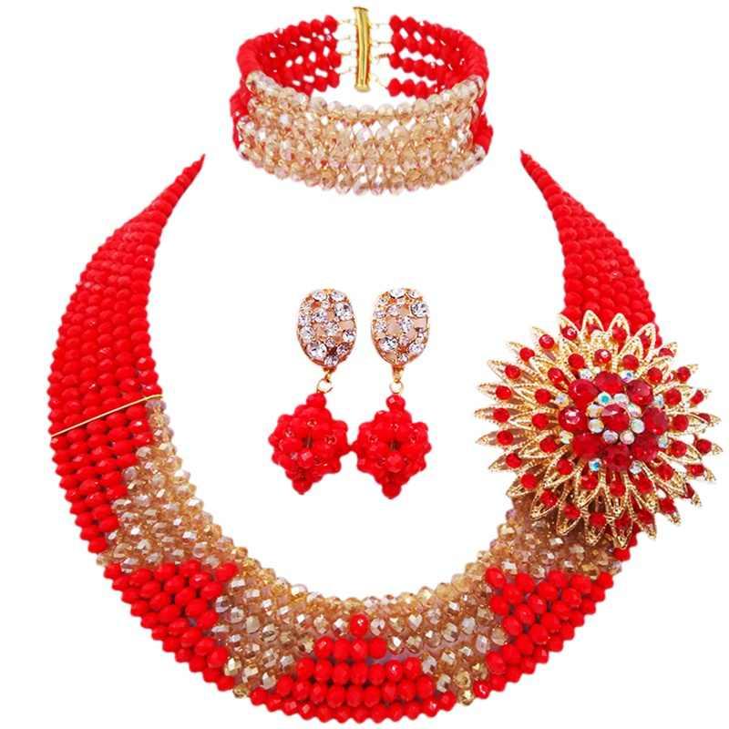 LAANC ยี่ห้อสวยงามโรงงานโดยตรงขายทึบแสงสีแดงแชมเปญทอง AB ผู้หญิงครบรอบปัจจุบันชุดเครื่องประดับคริสตัล 6C-SJ-15