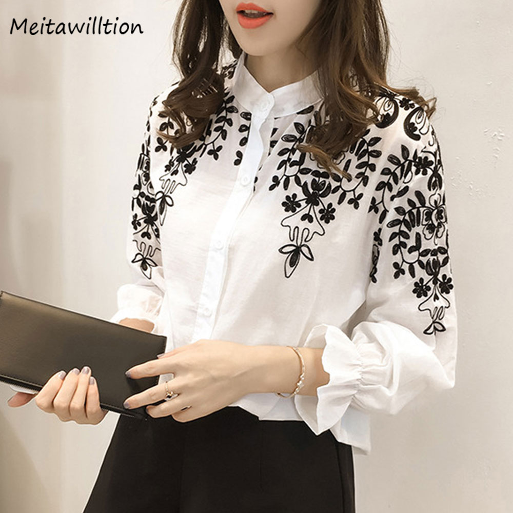 2018 Women Embroidery   Blouse     Shirts   Summer Spring Cotton Linen Women   Blouses   Casual Ruffle Sleeve Plus Size Ladies Tops 4XL 5XL