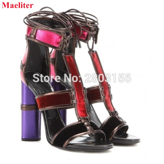 Fashion Women Sandals Summer shoes Lace Up Open Toe Thick Heel Patchwork Women Sandals high-heeled Shoes Woman woman sandals 2018 summer women concise bling open toe casual shoes woman fashion thick bottom wedges sandals