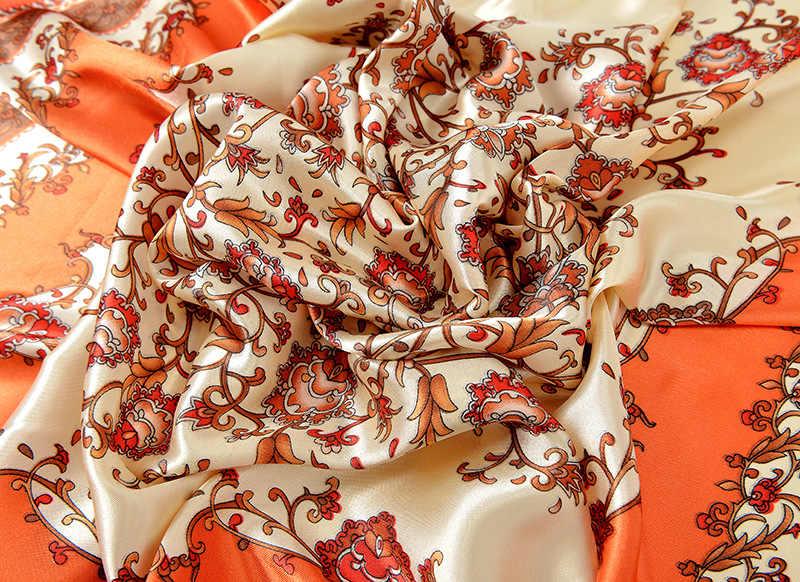 Femmes fleur Satin carré écharpes enveloppes 2018 nouveau hiver or Floral soie écharpe châle élégant Lotus tête cou écharpe 90*90 cm