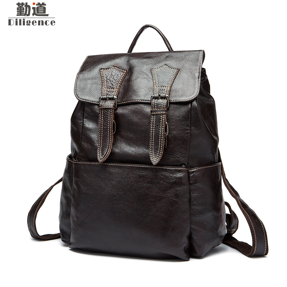 Genuine Leather Men Backpacks 13 inch Laptop Bags Fashion School Backpack Teenagers Vintage Bagpack Travel Bag Mochila Notebook 100% genuine leather laptop backpacks for teenagers 7273a