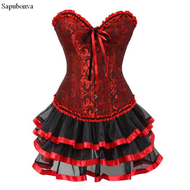 Sapubonva women corset dresses halloween costumes corsets bustier dress  with skirt set mini tutu skirt overbust plus size red 42b1bb4ded05