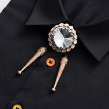 Gratis Verzending Zomer mannen mannelijke man fashion casual Retro Cross Jeweled Touw Grote Diamant Koreaanse Strikje BOLO Poirot stropdas