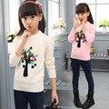 Recém-nascidos criança outono roupas mais pullover sólida decalques WER12 manga comprida knit tops todos camisola menina