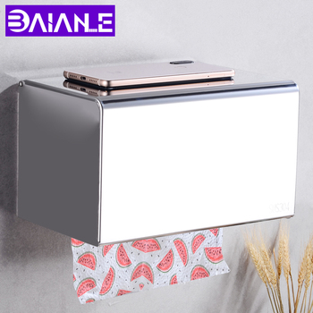 Toilet Paper Holder Cover Waterproof Bathroom Tissue Roll Paper Holder Box Stainless Steel Paper Towel Holder Rack Wall Mounted 2016 real toilet paper holder the airport train station public hotel bathroom stainless steel hand towels sassafras box frame