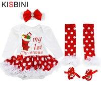 Kisbini bebé Mamelucos recién nacido Hilado falda Zapatos 4 PICS/sets cinta del bebé arco tocado niño mameluco vestido chirstmas