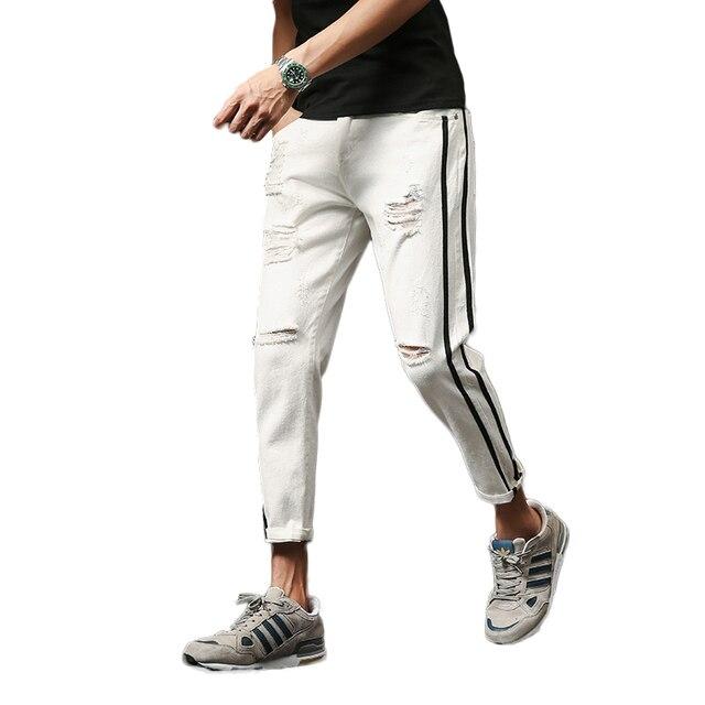 fcbc87c0b4094 Summer New Pants Men Jeans 2018 Brand Designer Fashion Slim Fit Ripped Denim  Pant Boys Side Stripe Ankle Length Men s Trousers