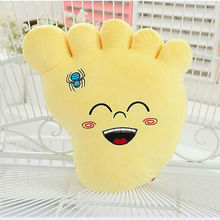 cute plush foot toy new yellow creative big foot pillow doll gift about 45x35cm