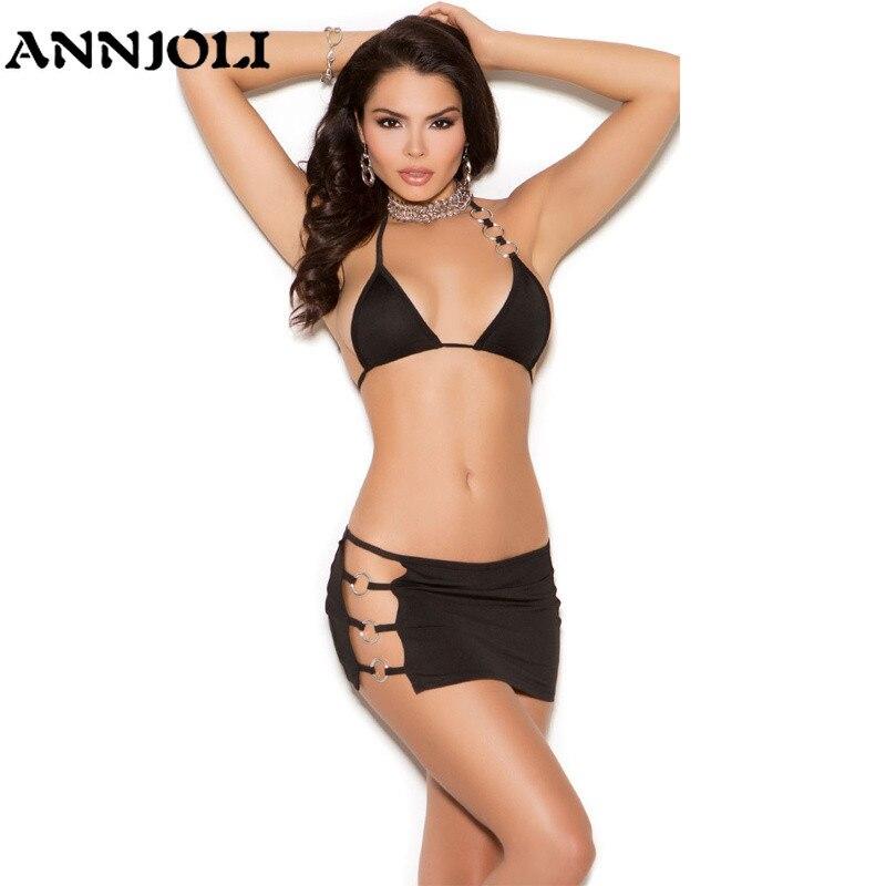 ANNJOLI Hot Luxury Sexy Lingerie Urban Women   Bra     Set   Black Underwear   Set     Briefs   Three Point Erotic Lingerie Metal Ring Lace