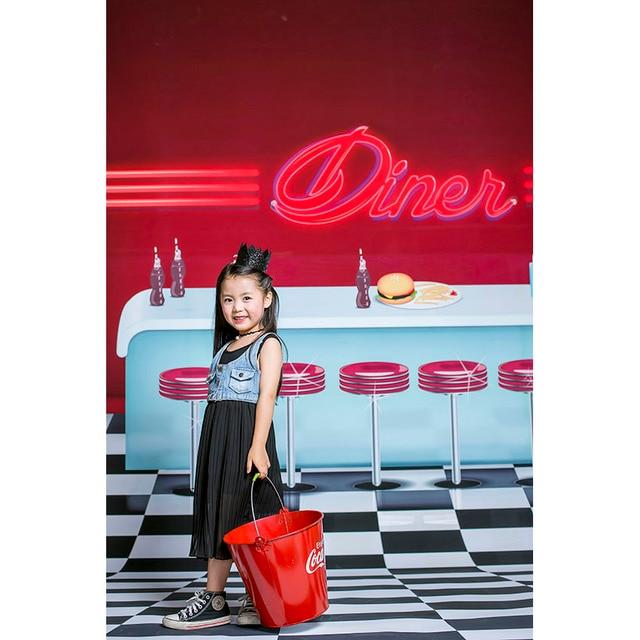 Custom Background Vinyl Photography Backdrop Diner Cola Ice Cream Bar Newborn Children Backgrounds for Photo Studio SZ-6